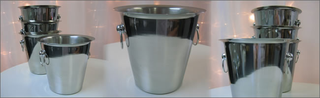 Stainless steel ice buckets for hire, Auckland