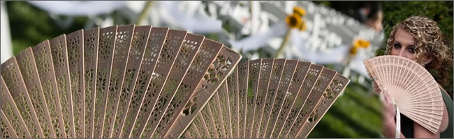 Sandlewood wedding fans for hire, Auckland