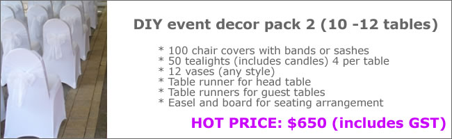 Wedding reception styling package deal, Auckland